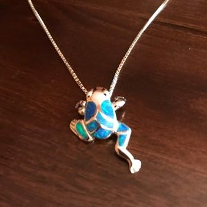 Jewelry - Sterling Silver Necklace with inlayed Frog Charm